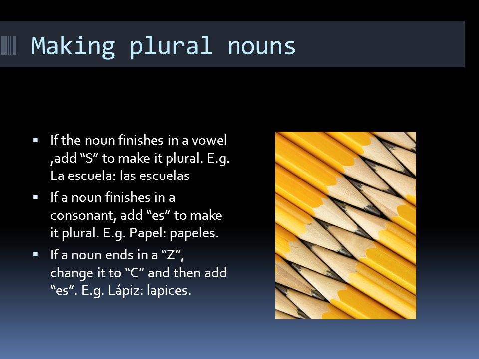 Making plural nouns If the noun finishes in a vowel,add S to make it plural.