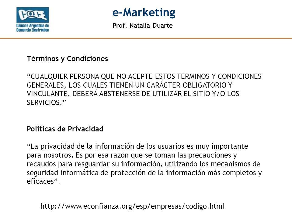 Prof. Natalia Duarte e-Marketing Lectura normal Visualización de un newsletter
