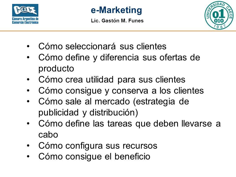 Lic. Gastón M. Funes e-Marketing Cómo seleccionará sus clientes Cómo define y diferencia sus ofertas de producto Cómo crea utilidad para sus clientes