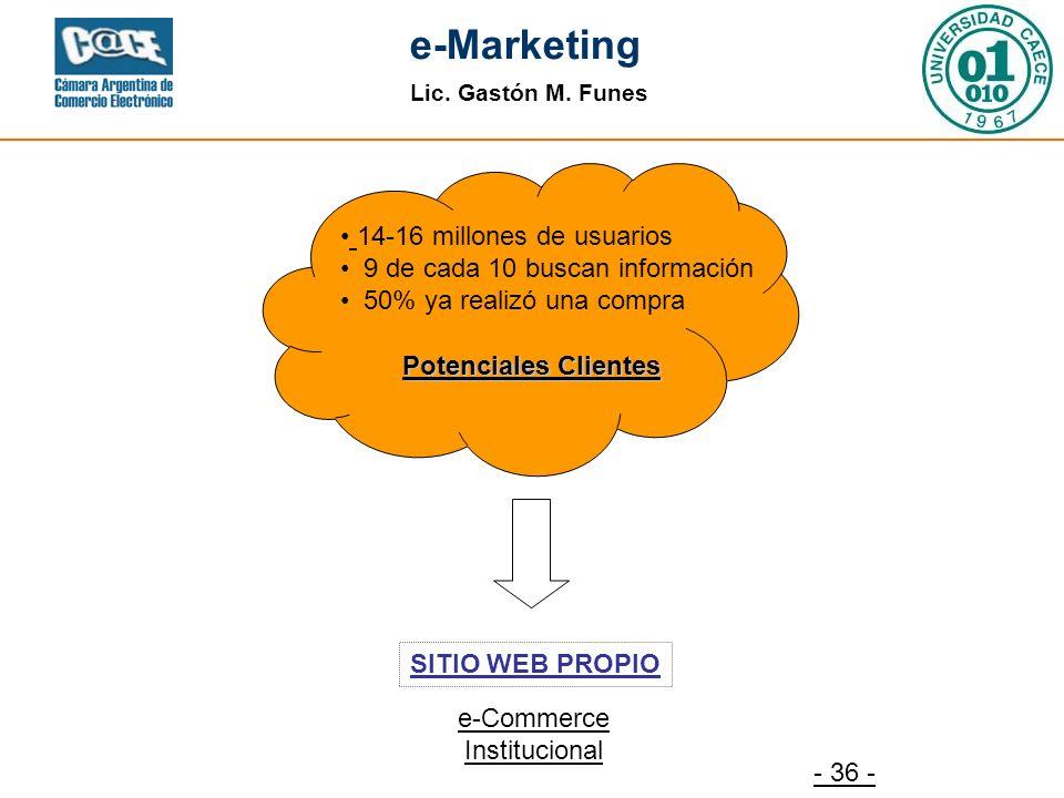 Lic. Gastón M. Funes e-Marketing - 36 - SITIO WEB PROPIO Potenciales Clientes e-Commerce Institucional 14-16 millones de usuarios 9 de cada 10 buscan