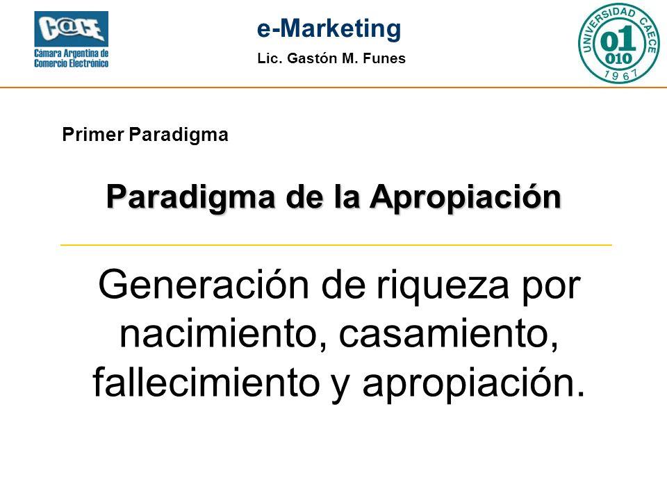 Lic. Gastón M. Funes e-Marketing Primer Paradigma Generación de riqueza por nacimiento, casamiento, fallecimiento y apropiación. Paradigma de la Aprop