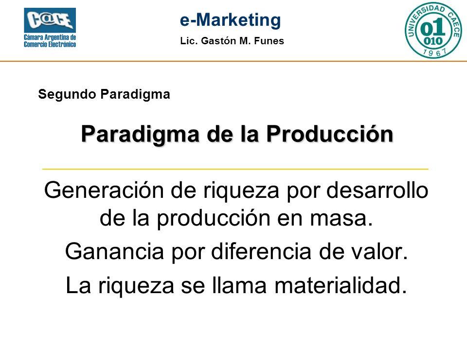 Lic. Gastón M. Funes e-Marketing Segundo Paradigma Generación de riqueza por desarrollo de la producción en masa. Ganancia por diferencia de valor. La