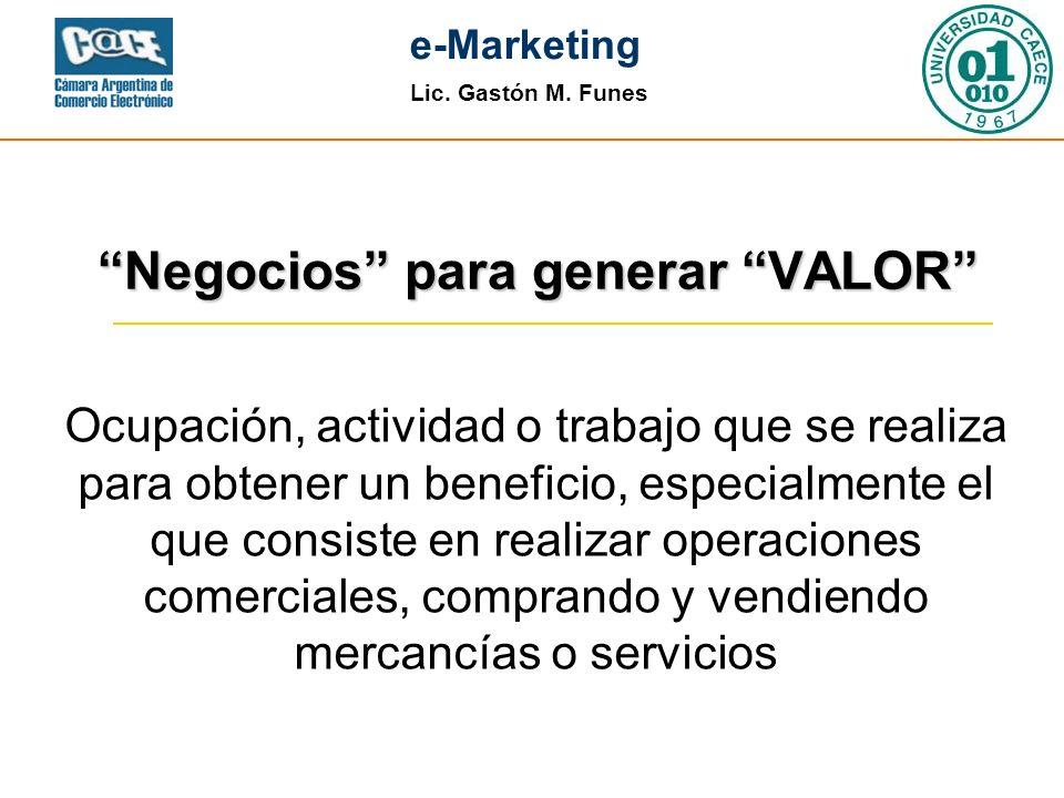 Lic. Gastón M. Funes e-Marketing Negocios para generar VALOR Ocupación, actividad o trabajo que se realiza para obtener un beneficio, especialmente el