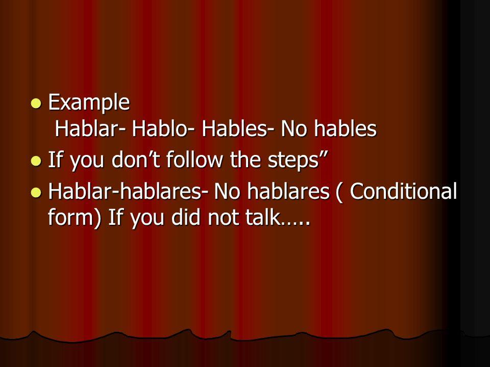 Example Hablar- Hablo- Hables- No hables Example Hablar- Hablo- Hables- No hables If you dont follow the steps If you dont follow the steps Hablar-hab