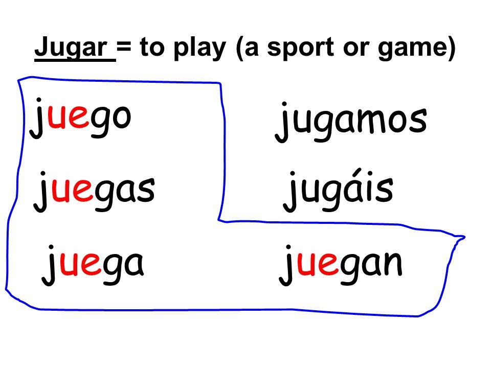 Jugar = to play (a sport or game) juego juegas juegajuegan jugáis jugamos