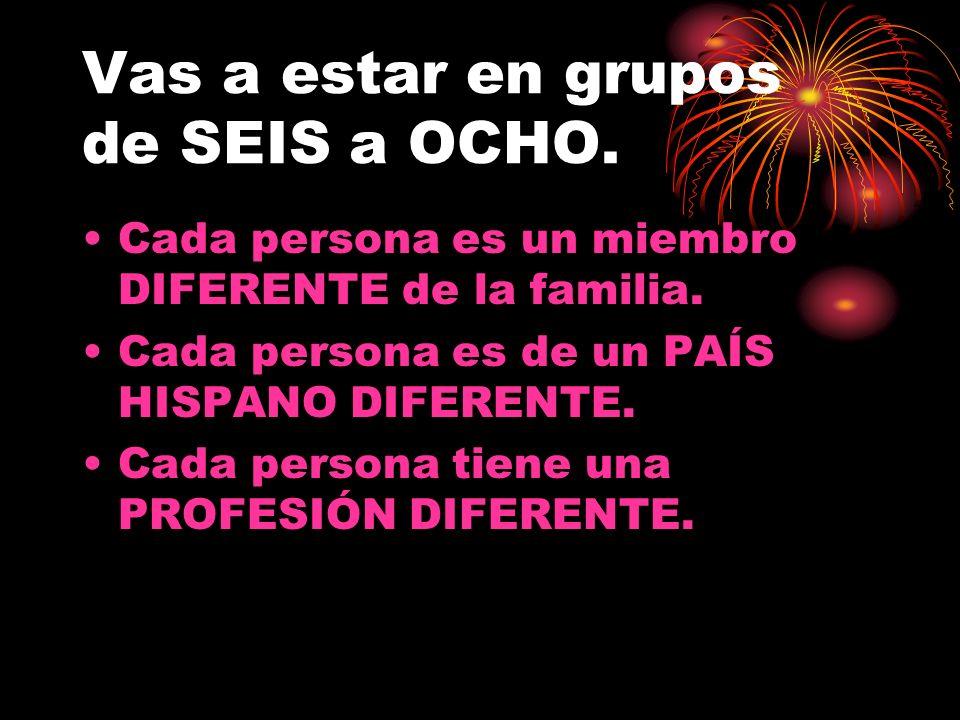Vas a estar en grupos de SEIS a OCHO. Cada persona es un miembro DIFERENTE de la familia.