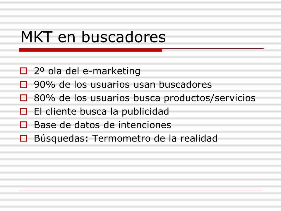MKT en buscadores 2º ola del e-marketing 90% de los usuarios usan buscadores 80% de los usuarios busca productos/servicios El cliente busca la publicidad Base de datos de intenciones Búsquedas: Termometro de la realidad