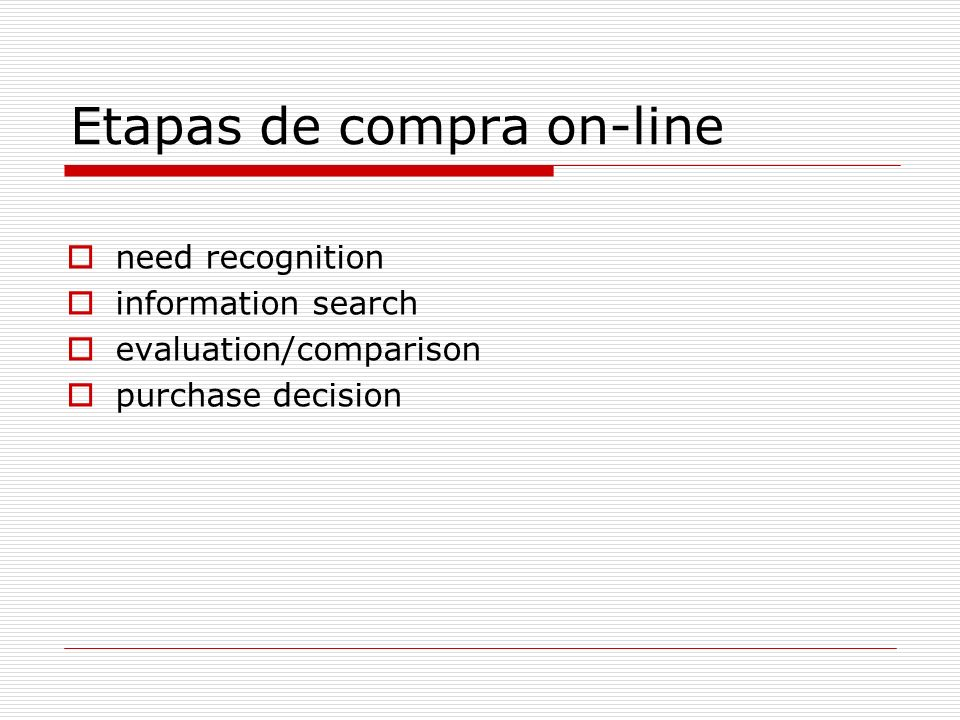 Etapas de compra on-line need recognition information search evaluation/comparison purchase decision