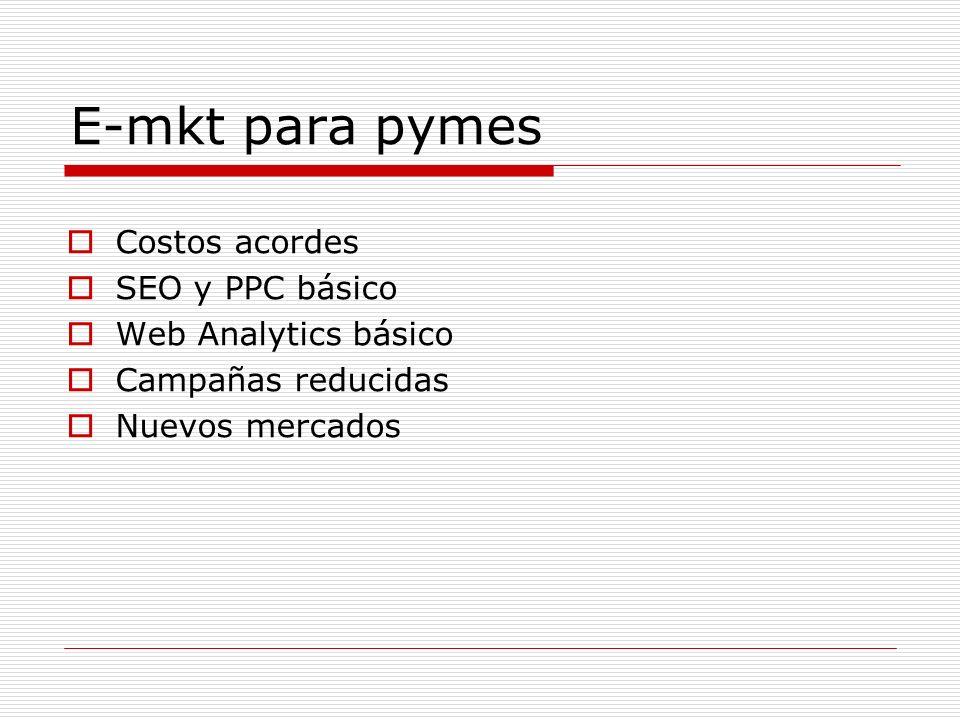 E-mkt para pymes Costos acordes SEO y PPC básico Web Analytics básico Campañas reducidas Nuevos mercados