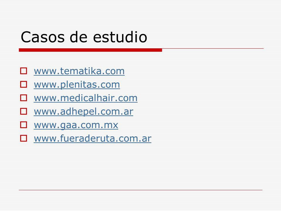Casos de estudio www.tematika.com www.plenitas.com www.medicalhair.com www.adhepel.com.ar www.gaa.com.mx www.fueraderuta.com.ar