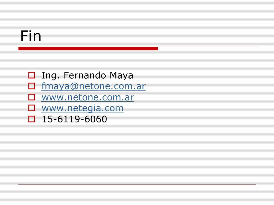 Fin Ing. Fernando Maya fmaya@netone.com.ar www.netone.com.ar www.netegia.com 15-6119-6060