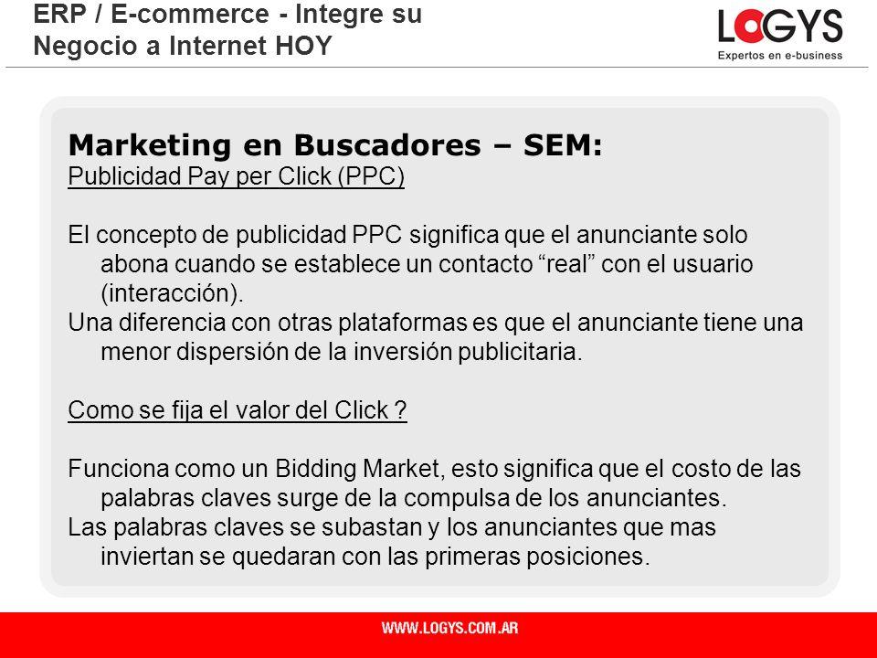 Página 12 ERP / E-commerce - Integre su Negocio a Internet HOY Marketing en Buscadores – SEM: Publicidad Pay per Click (PPC) El concepto de publicidad