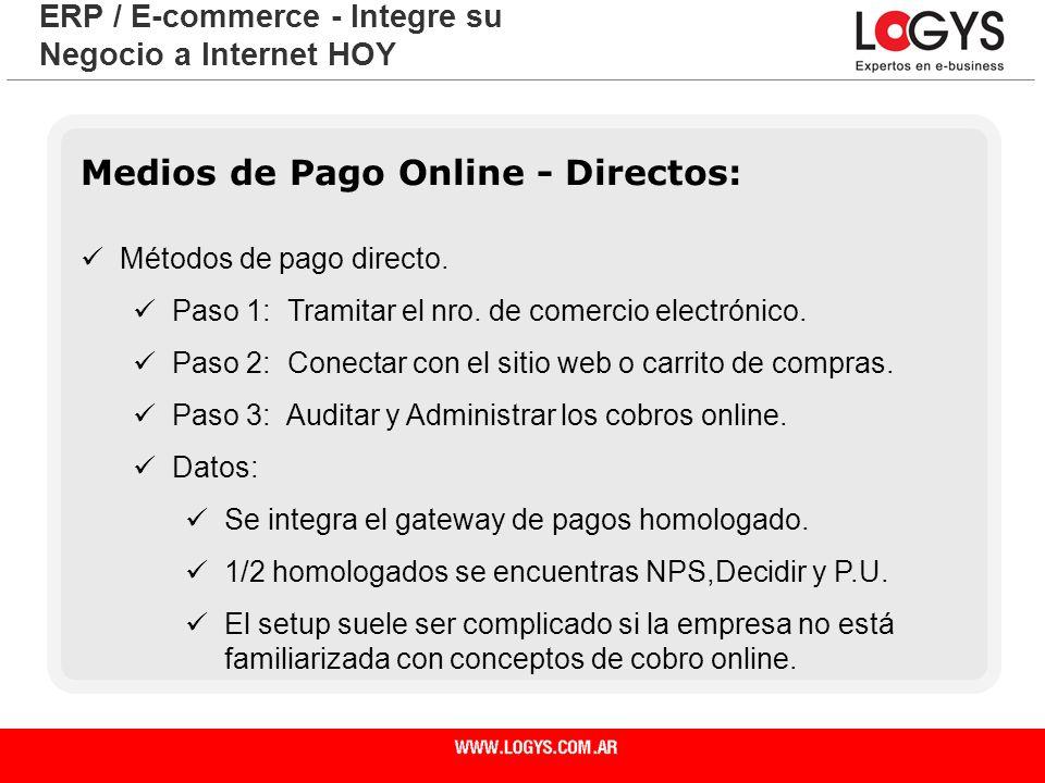 Página 20 Medios de Pago Online - Directos: Métodos de pago directo. Paso 1: Tramitar el nro. de comercio electrónico. Paso 2: Conectar con el sitio w