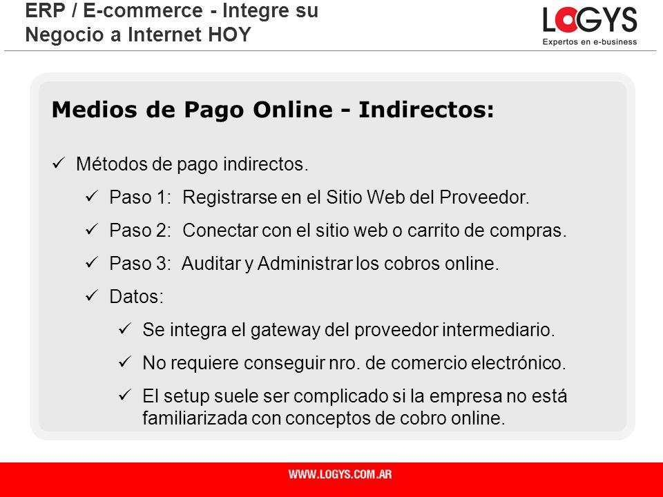 Página 21 Medios de Pago Online - Indirectos: Métodos de pago indirectos. Paso 1: Registrarse en el Sitio Web del Proveedor. Paso 2: Conectar con el s