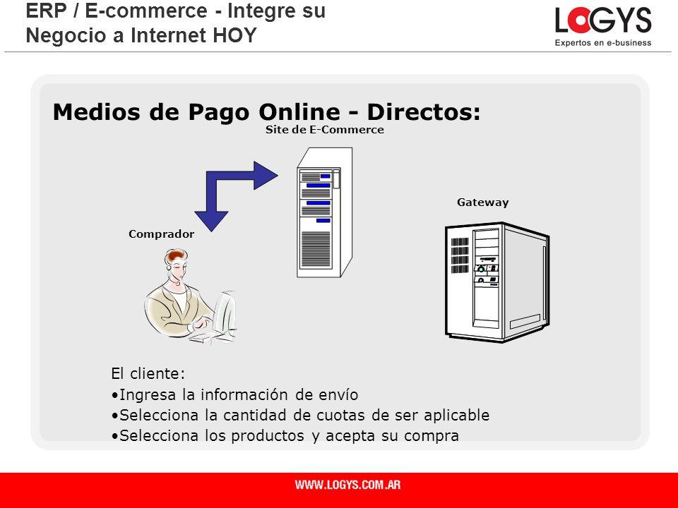 Página 22 Medios de Pago Online - Directos: ERP / E-commerce - Integre su Negocio a Internet HOY El cliente: Ingresa la información de envío Seleccion