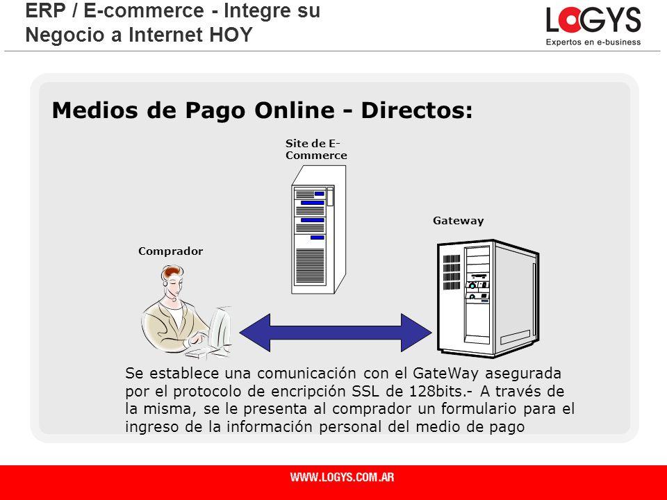 Página 23 Medios de Pago Online - Directos: ERP / E-commerce - Integre su Negocio a Internet HOY Se establece una comunicación con el GateWay asegurad