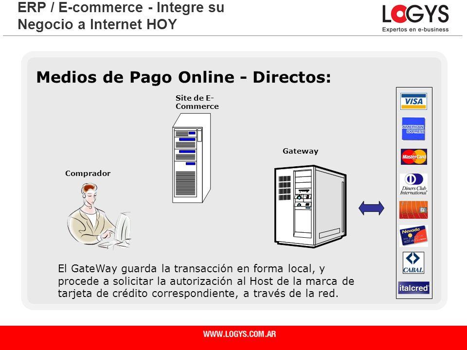 Página 24 Medios de Pago Online - Directos: ERP / E-commerce - Integre su Negocio a Internet HOY El GateWay guarda la transacción en forma local, y pr