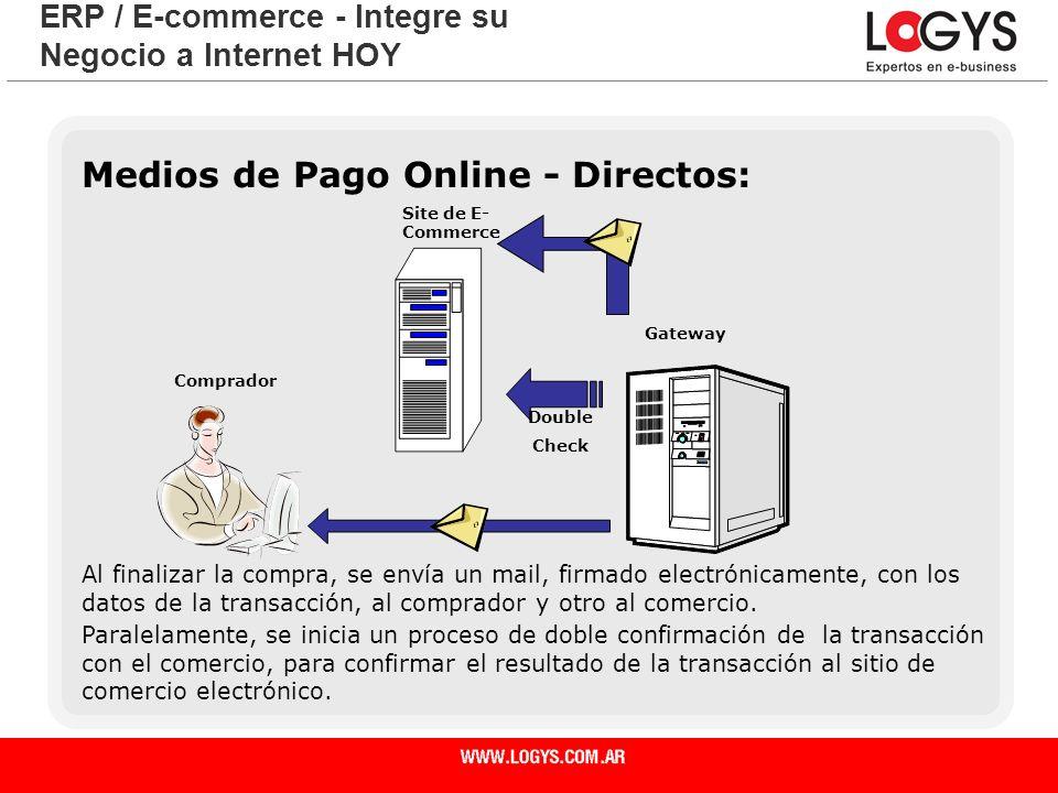 Página 26 Medios de Pago Online - Directos: ERP / E-commerce - Integre su Negocio a Internet HOY Al finalizar la compra, se envía un mail, firmado ele
