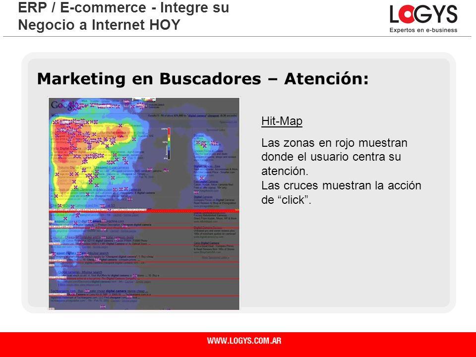 Página 9 ERP / E-commerce - Integre su Negocio a Internet HOY Marketing en Buscadores – Atención: Hit-Map Las zonas en rojo muestran donde el usuario