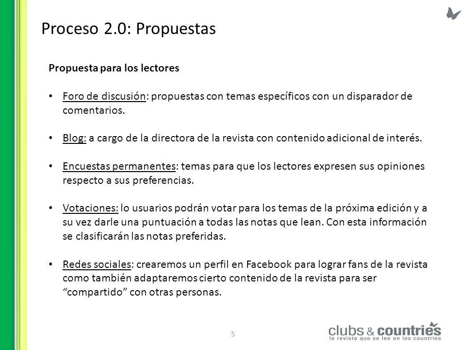 6 Proceso 2.0 Propuesta para los anunciantes La propuesta es generar un registro de anunciantes a través del cuál puedan interactuar con la revista con distintos fines: Consultas por temas específicos para enviar por email.