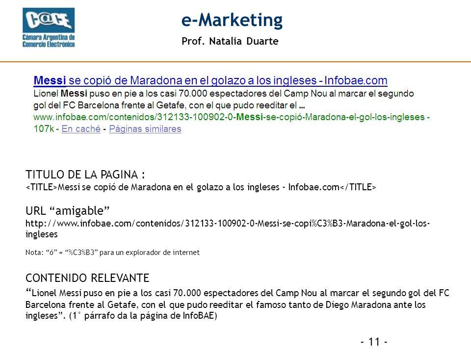 Prof. Natalia Duarte e-Marketing - 11 - TITULO DE LA PAGINA : Messi se copió de Maradona en el golazo a los ingleses - Infobae.com URL amigable http:/