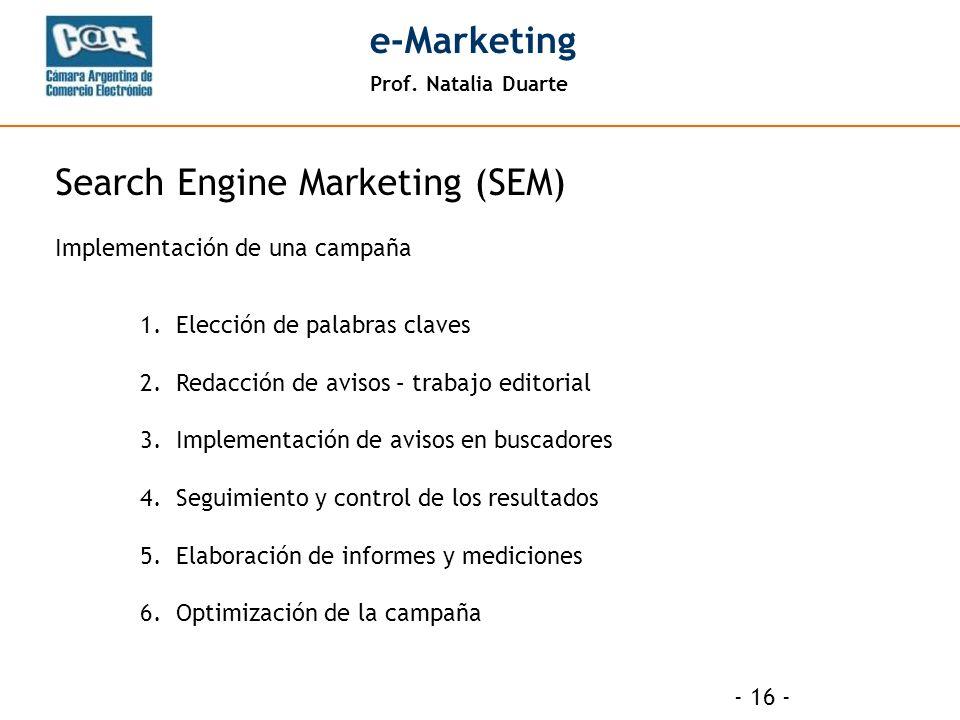 Prof. Natalia Duarte e-Marketing - 16 - 1.Elección de palabras claves 2.Redacción de avisos – trabajo editorial 3.Implementación de avisos en buscador