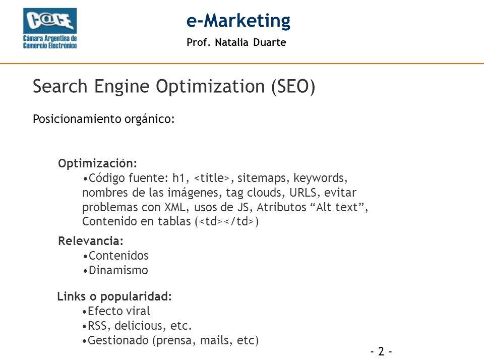 Prof.Natalia Duarte e-Marketing Optimización on-page Vs.