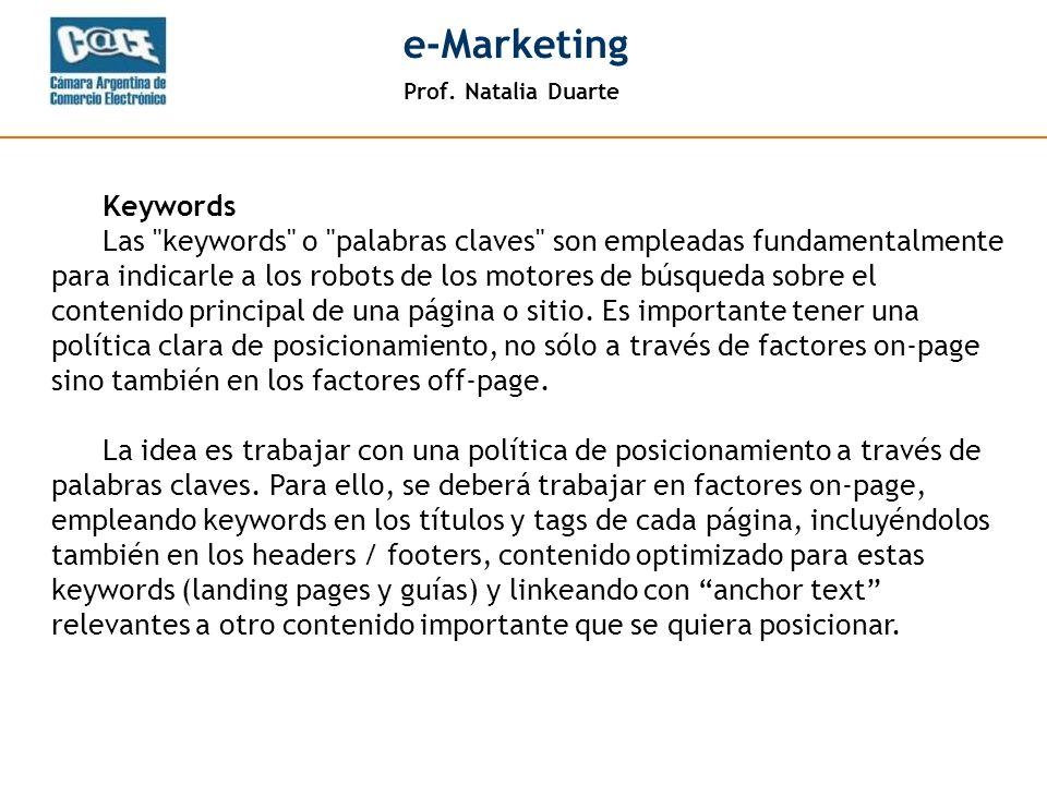 Prof. Natalia Duarte e-Marketing Keywords Las