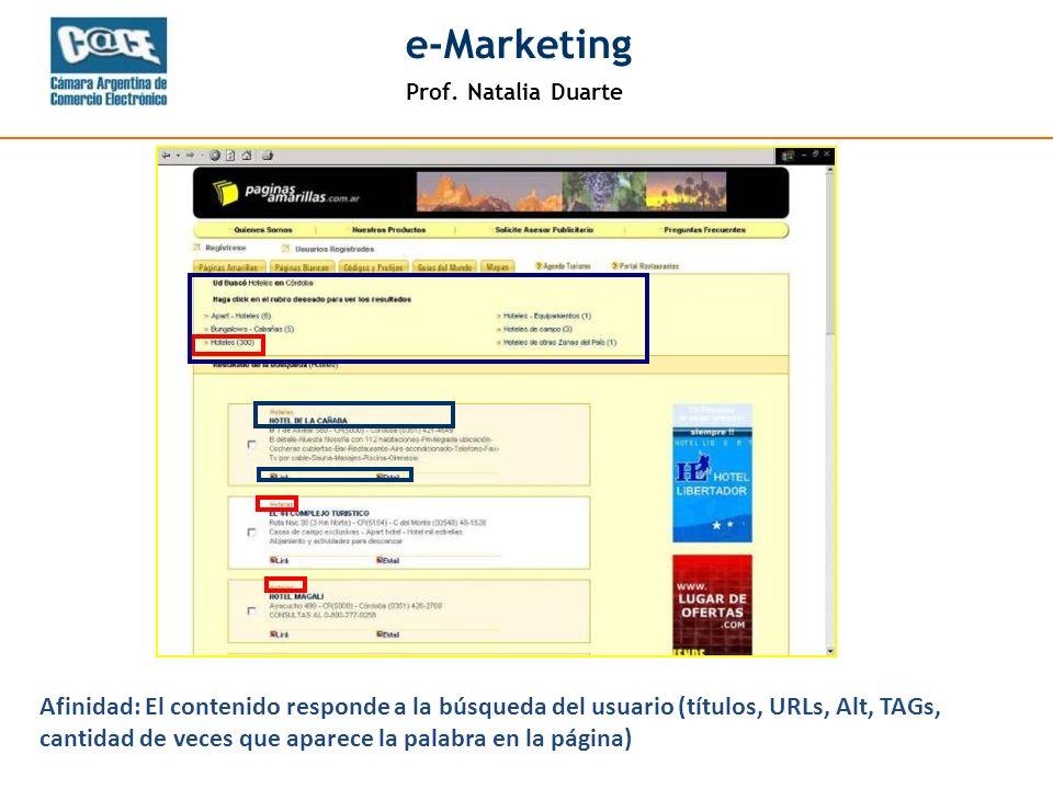 Prof. Natalia Duarte e-Marketing Afinidad: El contenido responde a la búsqueda del usuario (títulos, URLs, Alt, TAGs, cantidad de veces que aparece la