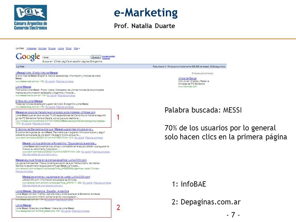 Prof. Natalia Duarte e-Marketing - 7 - Palabra buscada: MESSI 70% de los usuarios por lo general solo hacen clics en la primera página 1 2 1: infoBAE