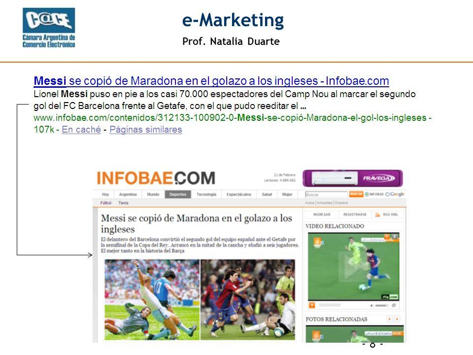 Prof. Natalia Duarte e-Marketing - 9 -