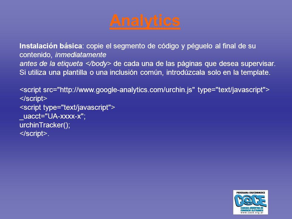 Analytics Instalación básica: copie el segmento de código y péguelo al final de su contenido, inmediatamente antes de la etiqueta de cada una de las páginas que desea supervisar.