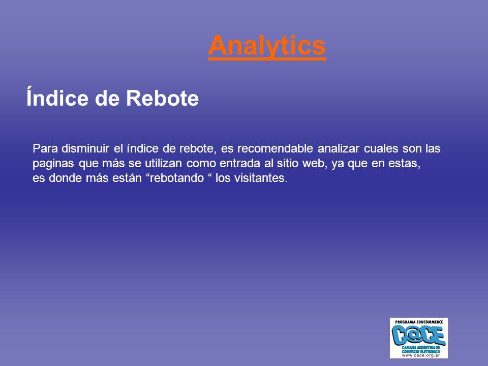 Índice de Rebote Para disminuir el índice de rebote, es recomendable analizar cuales son las paginas que más se utilizan como entrada al sitio web, ya que en estas, es donde más están rebotando los visitantes.