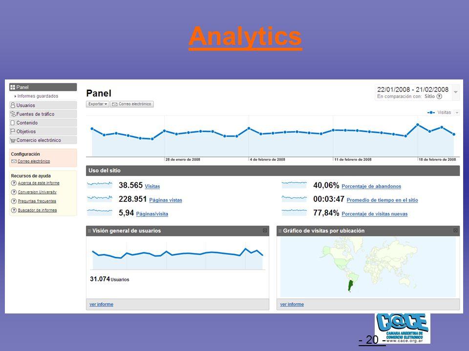 - 20 - Analytics