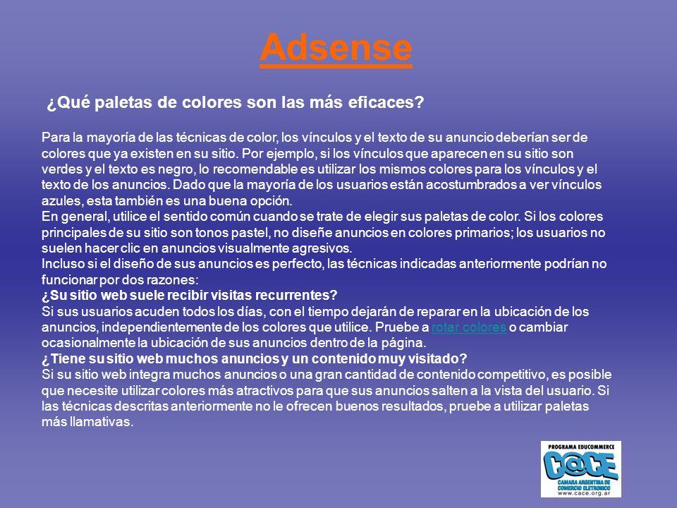 Adsense ¿Qué paletas de colores son las más eficaces.