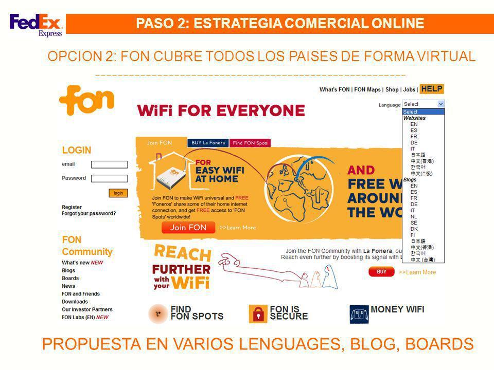 OPCION 2: FON CUBRE TODOS LOS PAISES DE FORMA VIRTUAL PROPUESTA EN VARIOS LENGUAGES, BLOG, BOARDS PASO 2: ESTRATEGIA COMERCIAL ONLINE
