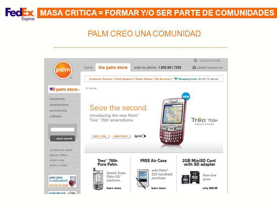 PALM CREO UNA COMUNIDAD MASA CRITICA = FORMAR Y/O SER PARTE DE COMUNIDADES