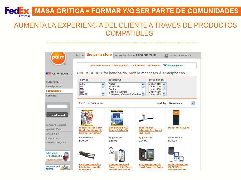 AUMENTA LA EXPERIENCIA DEL CLIENTE A TRAVES DE PRODUCTOS COMPATIBLES MASA CRITICA = FORMAR Y/O SER PARTE DE COMUNIDADES