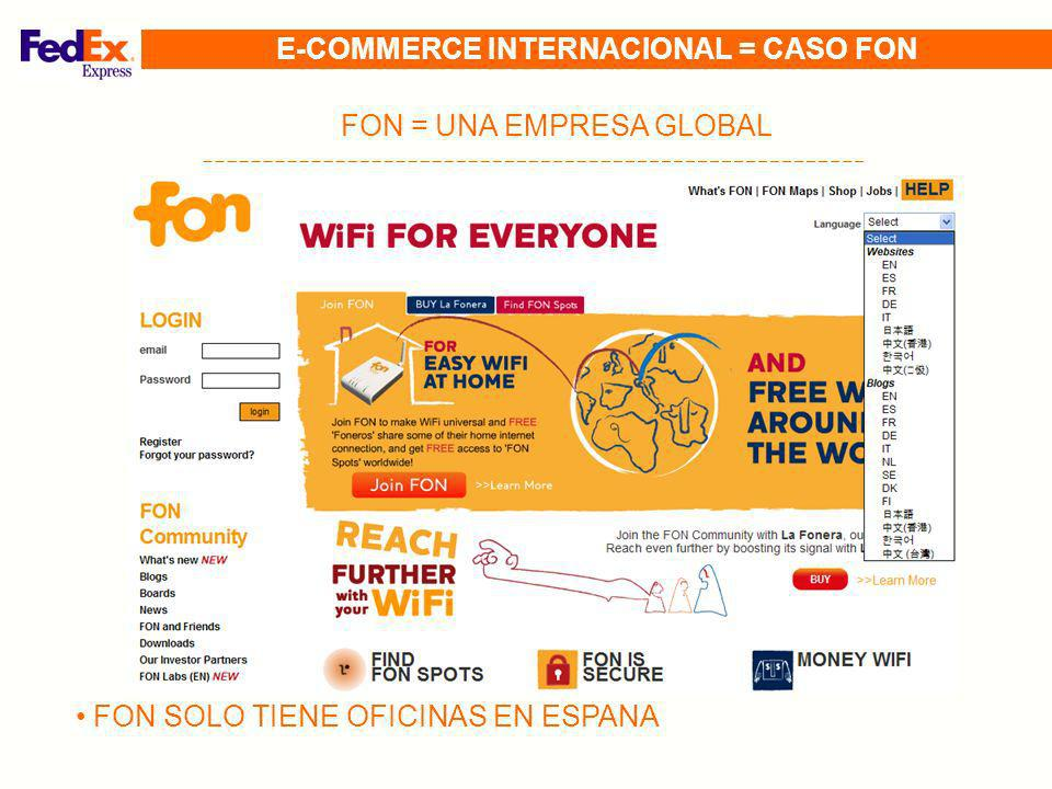 FON = UNA EMPRESA GLOBAL FON SOLO TIENE OFICINAS EN ESPANA E-COMMERCE INTERNACIONAL = CASO FON