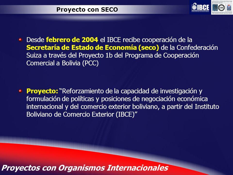 12 Proyectos con Organismos Internacionales Proyecto con SECO Desde febrero de 2004 el IBCE recibe cooperación de la Secretaría de Estado de Economía
