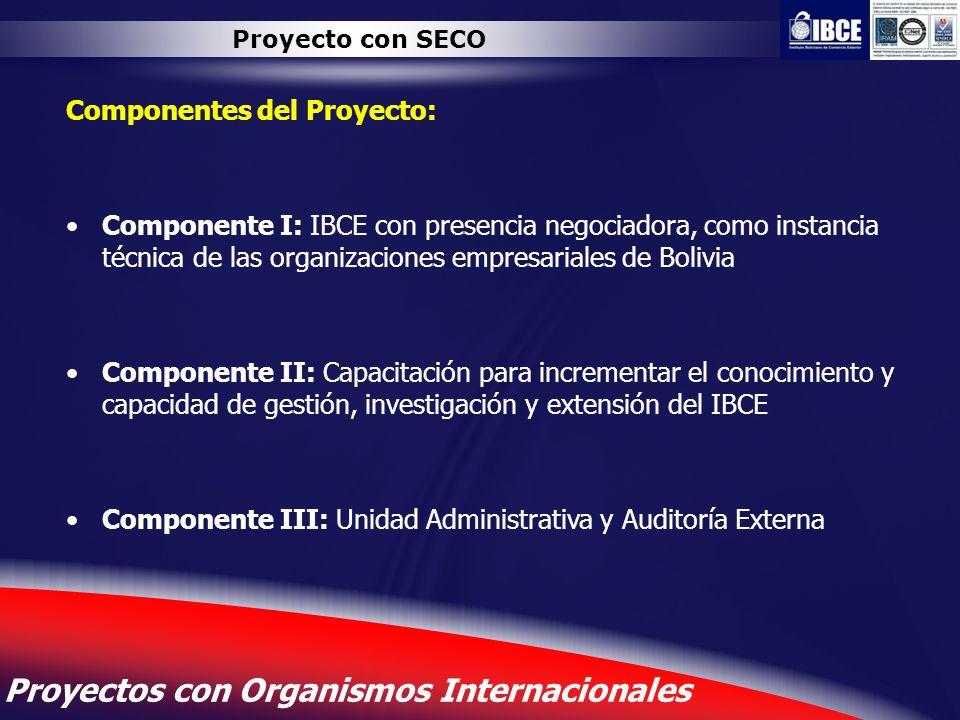 13 Proyectos con Organismos Internacionales Proyecto con SECO Componentes del Proyecto: Componente I: IBCE con presencia negociadora, como instancia t