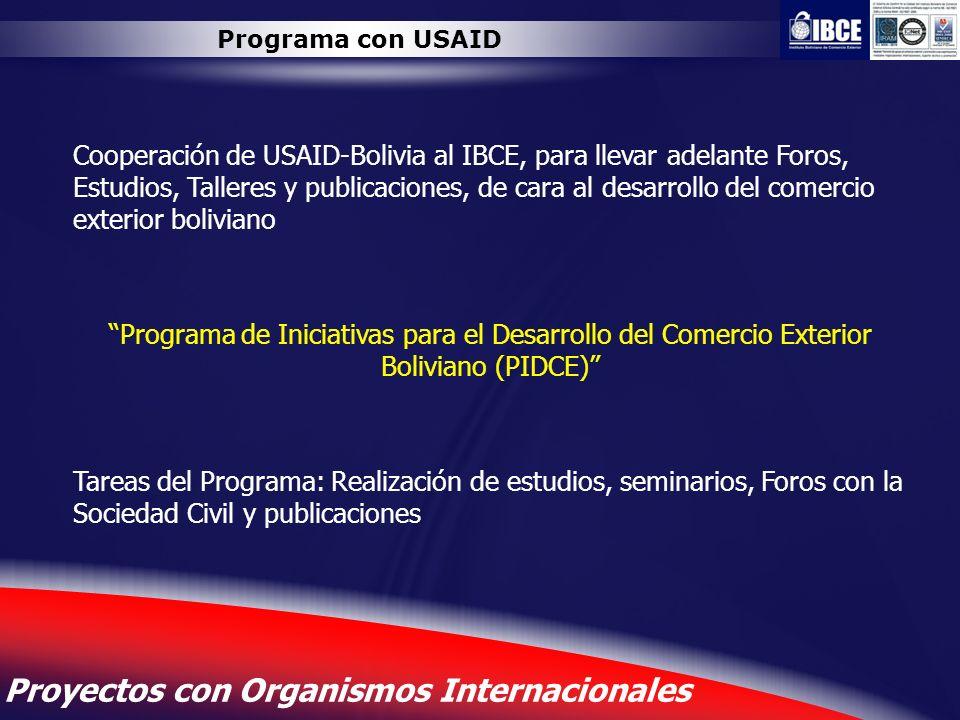 14 Proyectos con Organismos Internacionales Programa con USAID Cooperación de USAID-Bolivia al IBCE, para llevar adelante Foros, Estudios, Talleres y