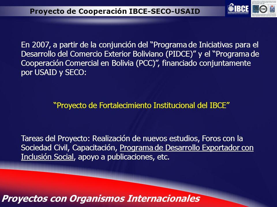 15 Proyectos con Organismos Internacionales Proyecto de Cooperación IBCE-SECO-USAID En 2007, a partir de la conjunción del Programa de Iniciativas par
