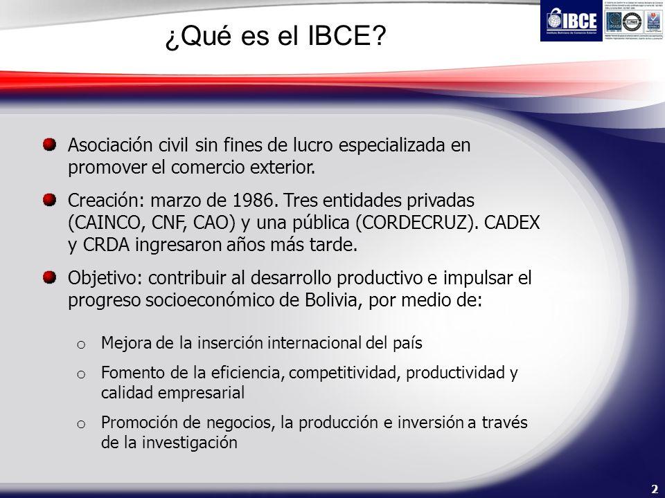 2 ¿Qué es el IBCE? Asociación civil sin fines de lucro especializada en promover el comercio exterior. Creación: marzo de 1986. Tres entidades privada