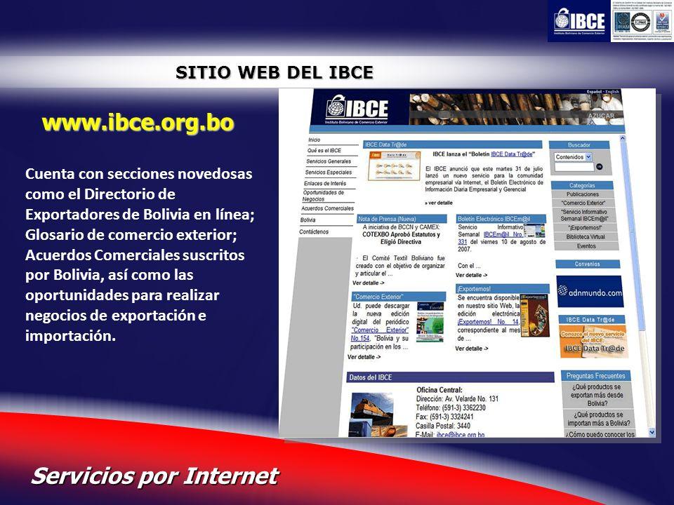 21 Servicios por Internet SITIO WEB DEL IBCE www.ibce.org.bo Cuenta con secciones novedosas como el Directorio de Exportadores de Bolivia en línea; Gl