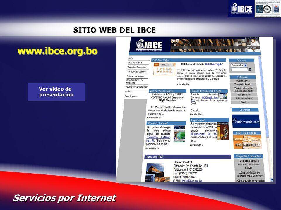 22 Servicios por Internet SITIO WEB DEL IBCE www.ibce.org.bo Ver video de presentación