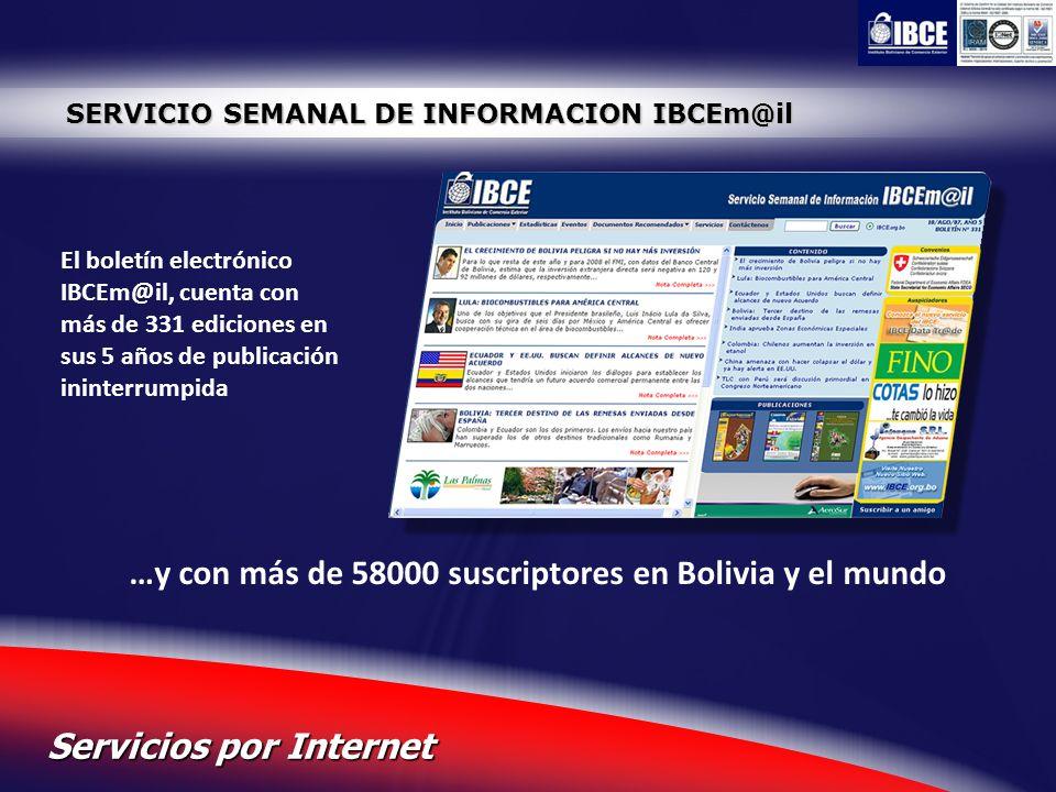23 Servicios por Internet SERVICIO SEMANAL DE INFORMACION IBCEm@il El boletín electrónico IBCEm@il, cuenta con más de 331 ediciones en sus 5 años de p