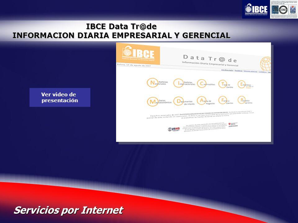 28 Servicios por Internet IBCE Data Tr@de INFORMACION DIARIA EMPRESARIAL Y GERENCIAL Ver video de presentación