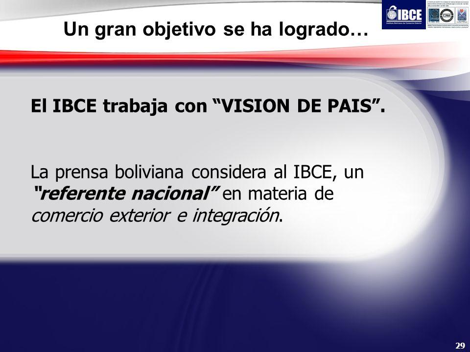 29 Un gran objetivo se ha logrado… El IBCE trabaja con VISION DE PAIS. La prensa boliviana considera al IBCE, un referente nacional en materia de come