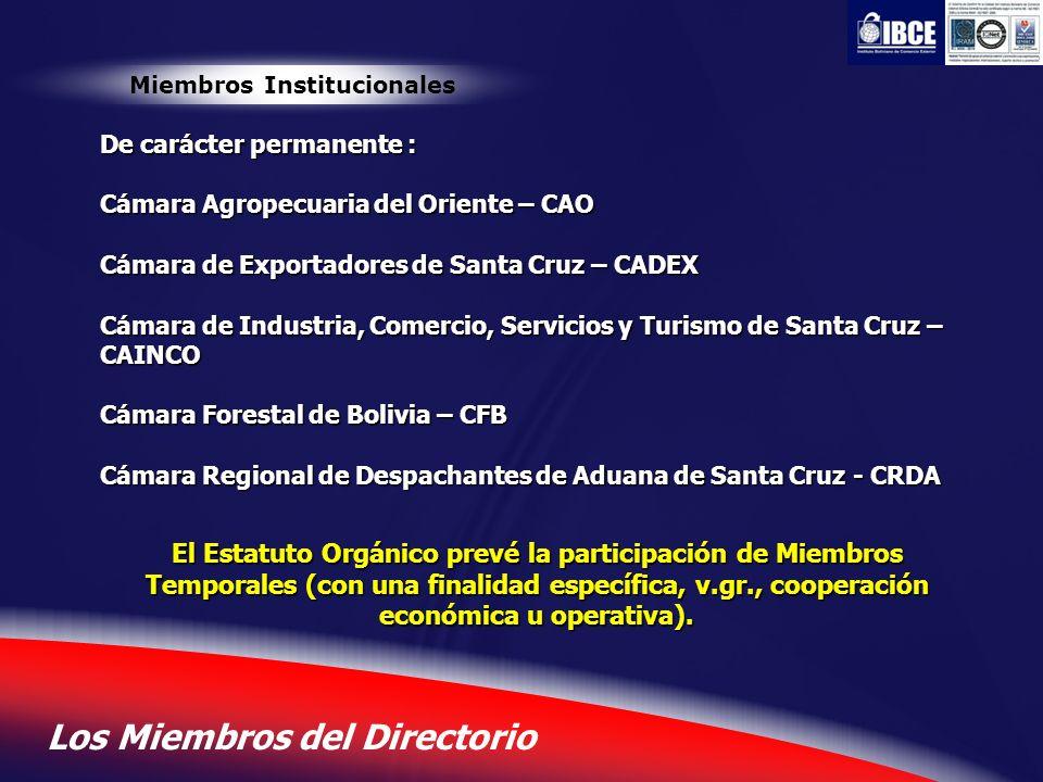 4 Los Miembros del Directorio Miembros Institucionales De carácter permanente : Cámara Agropecuaria del Oriente – CAO Cámara de Exportadores de Santa